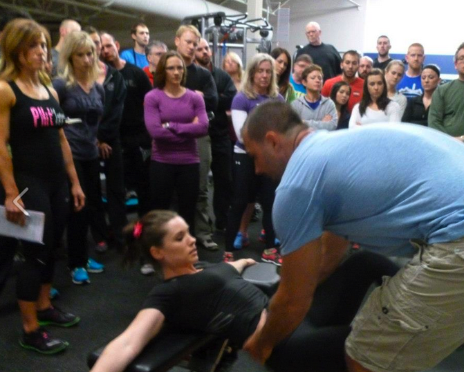 Demonstrating with Bret at the Fitness Summit.