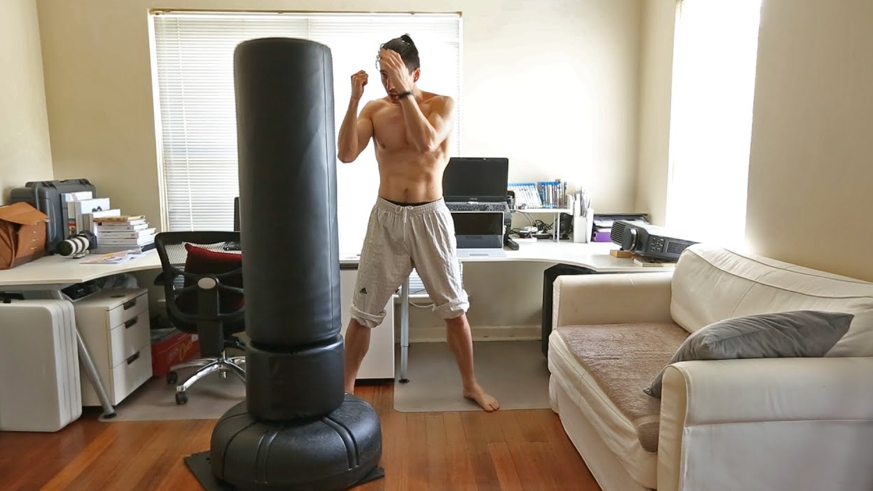One of the Benefits of Using a Free-Standing Punching Bag Is No Mounting Required