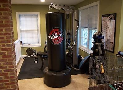 There are many great Benefits of Having Floor Punching Bags, One of Them Is It Saves Space