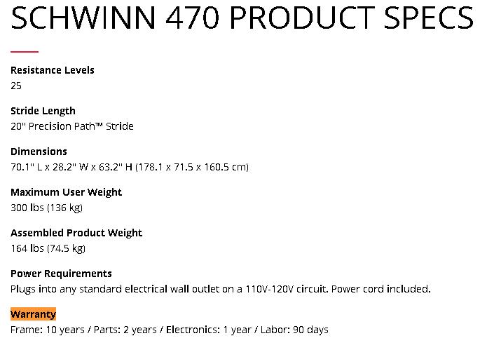 schwinn 470 warranty