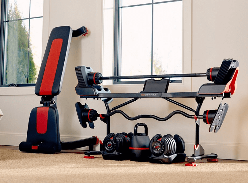 As far as saving on space, you can count on the Bowflex too