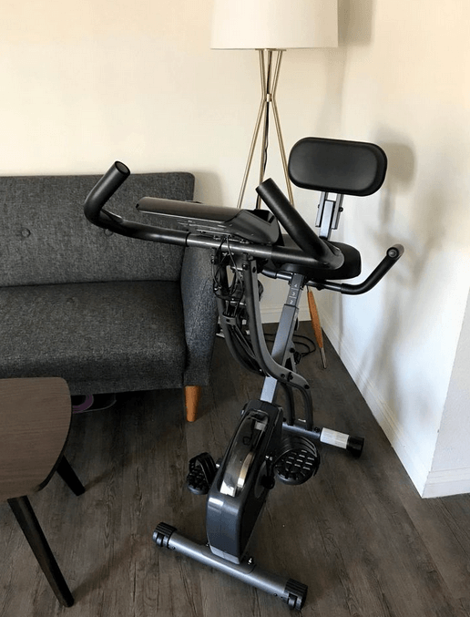 MaxKare Upright Folding Exercise Bike is an amazing pick if you are looking for a stationary bike with backrest