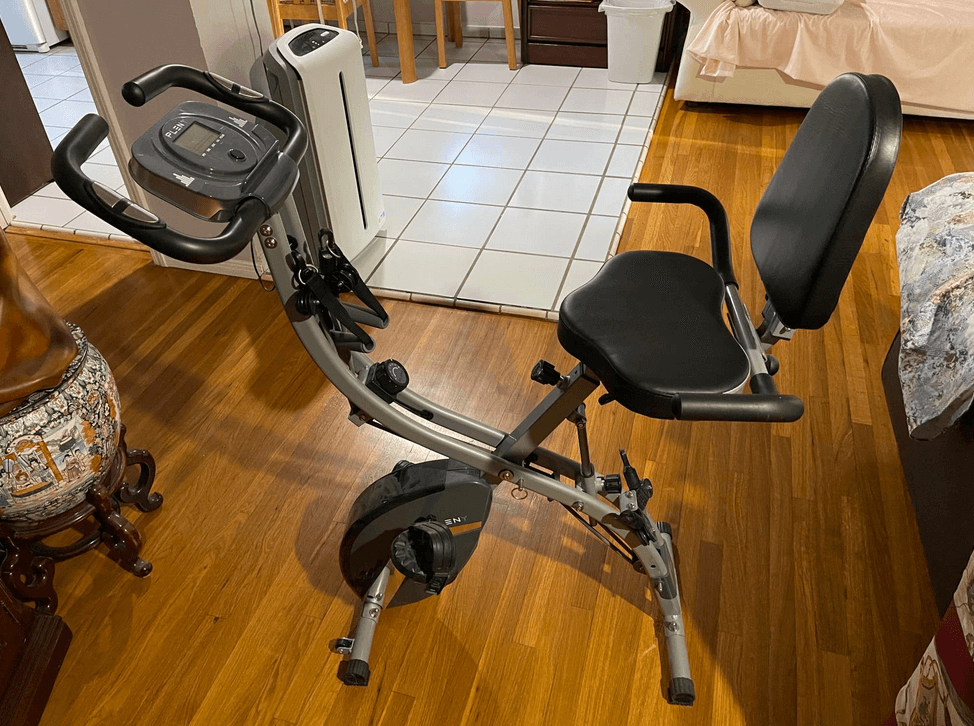 PLENY 3-in-1 Total Body Workout Is a great option for a foldable exercise bike with backrest