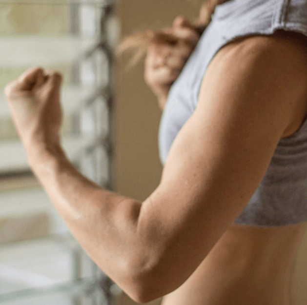 Arms tend to shrink as you burn the fat tissue in them with running