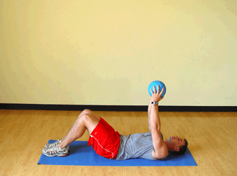 Shooting for 600 crunches with medicine ball