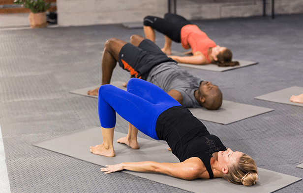 The glute bridge is done lying on the upper back with the knees at 45-degree angle