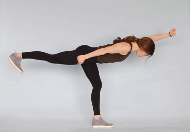 The standing superwoman workout is great for taking the strain off the spine and lower back